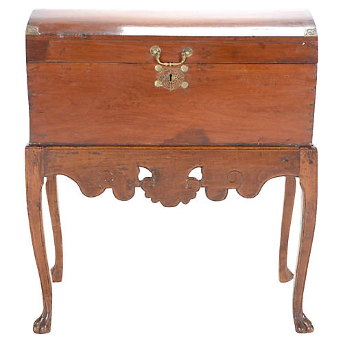 Dome Top Antique Asian Chest On Stand