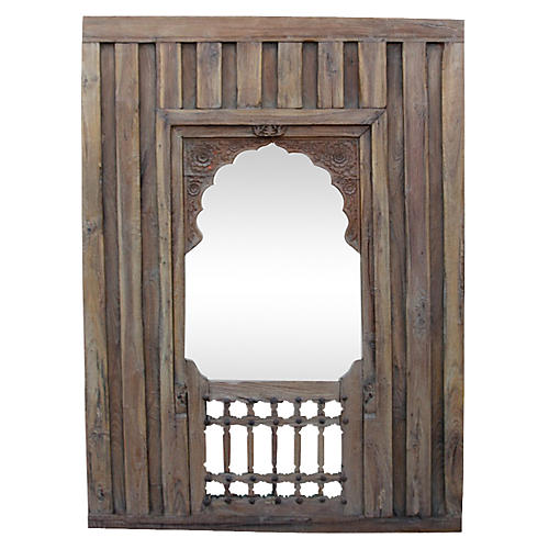 Early-19th-C. Haveli Arched Mirror