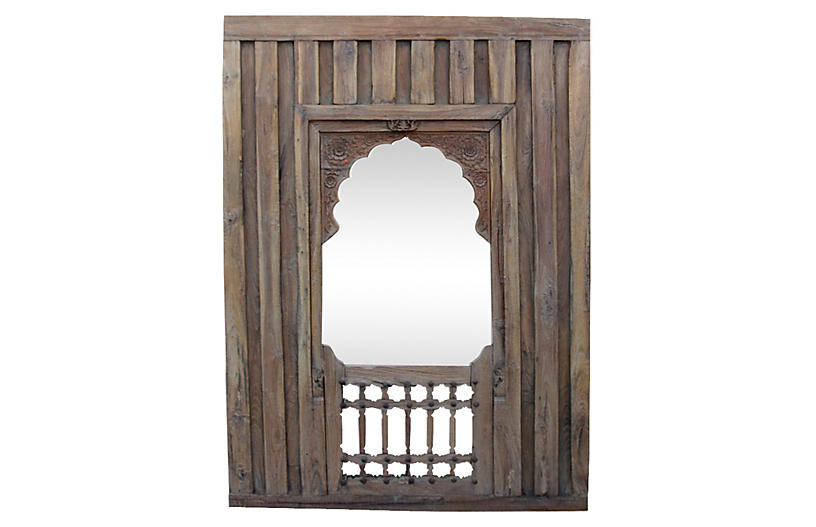 Antique Indian Haveli Arched Mirror