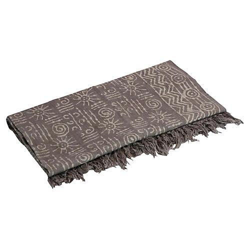 Taupe Tribal Batik Throw