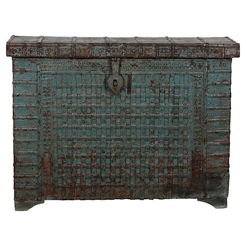 Antique Ironstrap Applique Blue Trunk