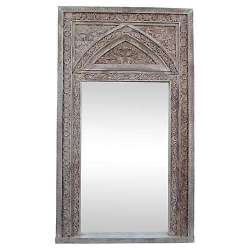 White Carved Floor Mirror