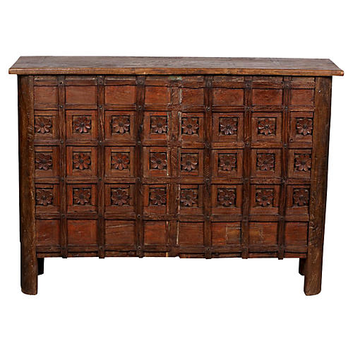 Carved Floral Panel Console Trunk