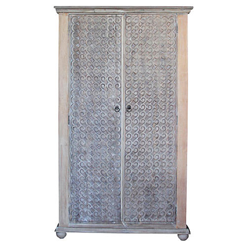 Whitewash Carved Scroll Armoire