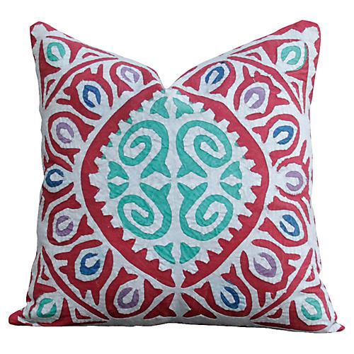 Red Jogi Rali Appliqué Pillow