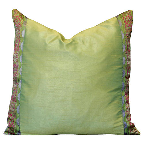 Green Floral Heritage Silk Pillow