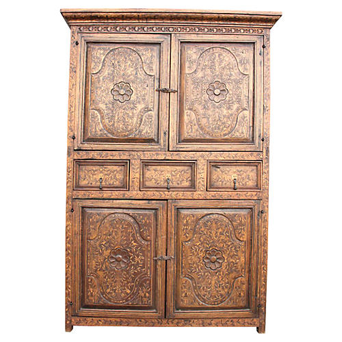 Spanish Colonial Marquetry Armoire