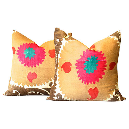 Shimul Suzani Pillows, Pair