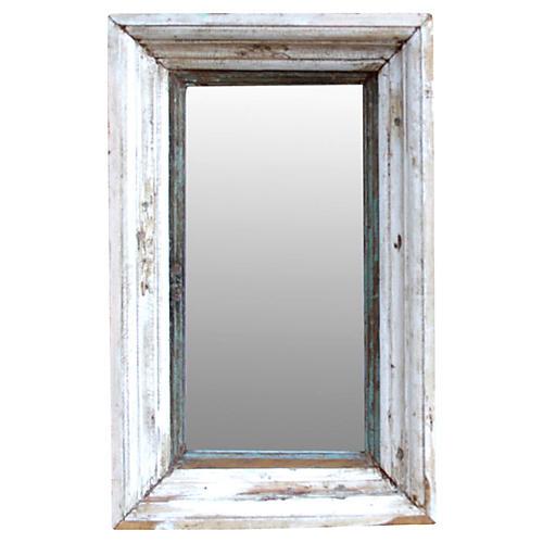 Whitewash Architectural Frame Mirror