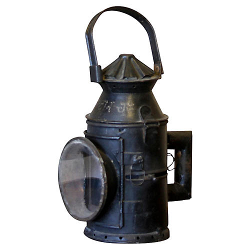 Antique Train Glass Lantern