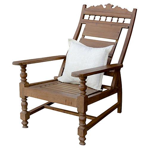 Early-20th-C. Teak Plantation Chair