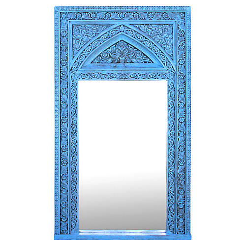 Turquoise Arch Floor Mirror