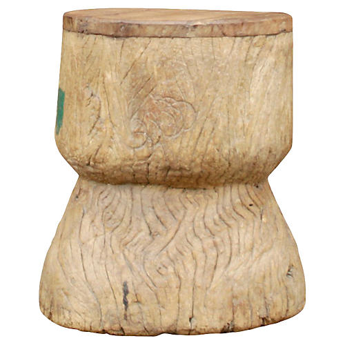 Hand-Carved Wood Grinder Table