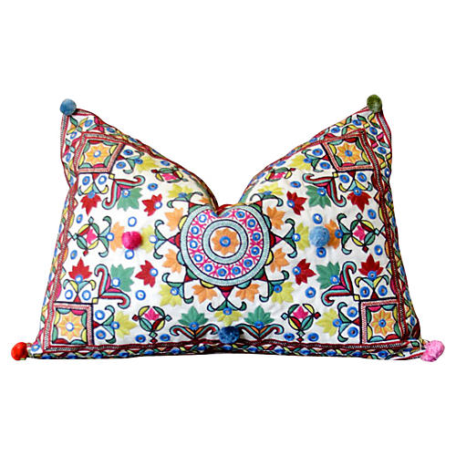 Chakra Pom-Pom Embroidered Pillow