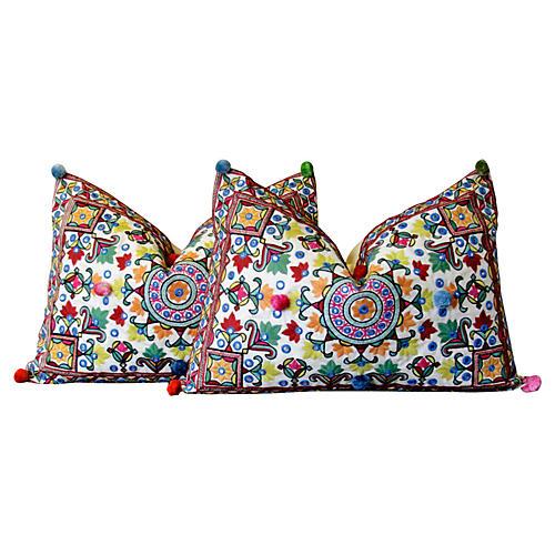 Mandala Pom-Pom Embroidered Pillows, S/2