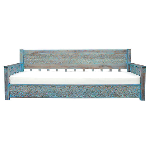 Grandoise Jodhpur Blue Carved Daybed