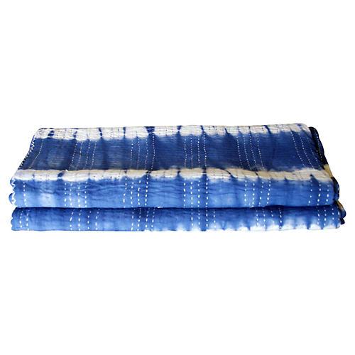 Indigo Tie-Dye Coverlet