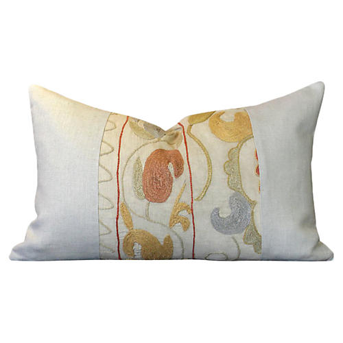 Omala Linen Suzani Lumbar Pillow