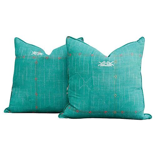 Masar Agra Vintage Kantha Pillow, Pair