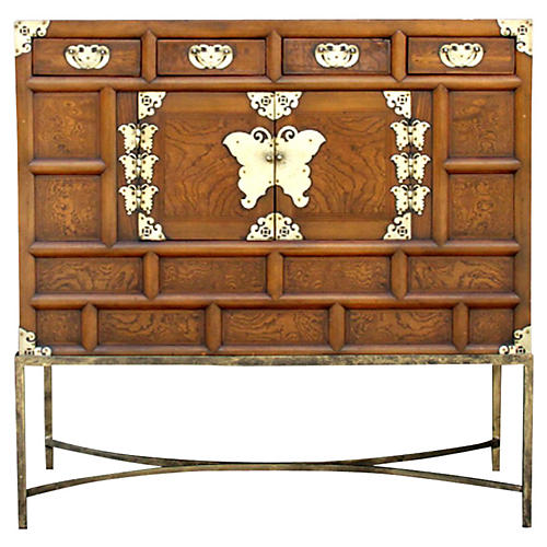 Korean Antique Burr Butterfly Chest