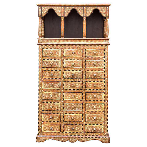 Bone Inlaid Apothecary Arched Dresser