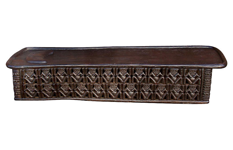 20th C. African Wooden Carved Bed