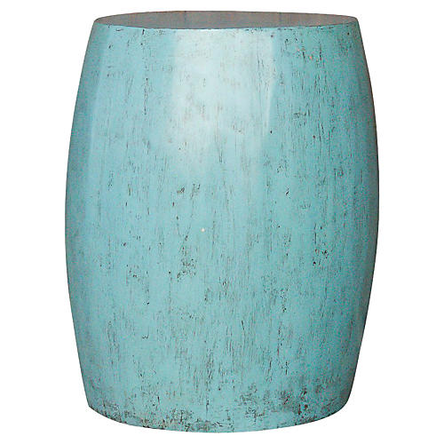 Vintage Turquoise Drum Table