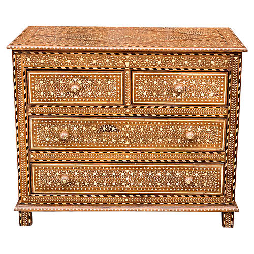 Rare Colonial Inlaid Chest of Drawers