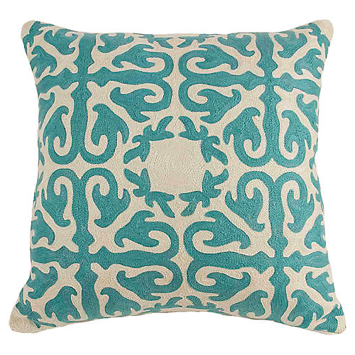 Turquoise Crewel Embroidered Pillow