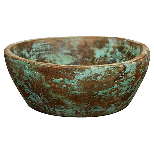 Distressed Teal Dough Bowl