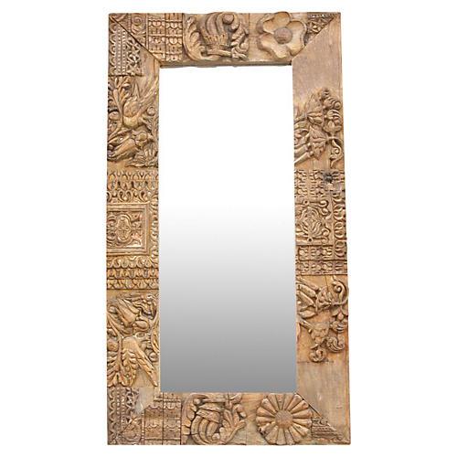 Antique Chennai Temple Carved Mirror