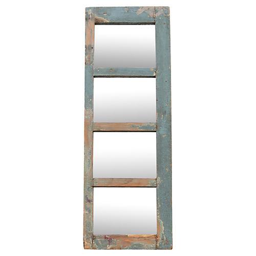 Distressed Blue Window Panel Mirror