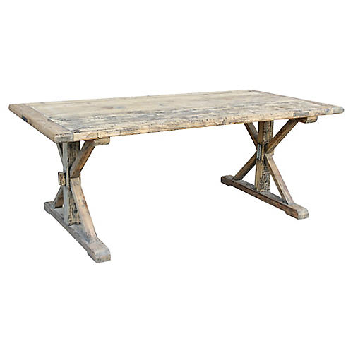 Vintage Rustic Trestle Dining Table