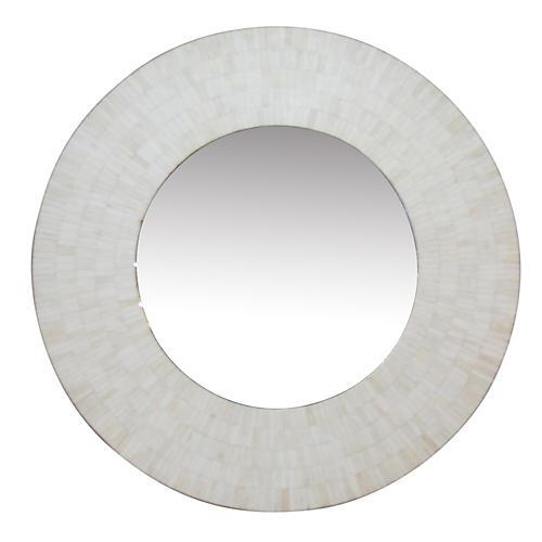 Boho Modern Bone Inlay Round Mirror