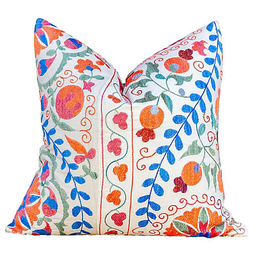 Vibrant Jewel Tone Uzbek Suzani Pillow