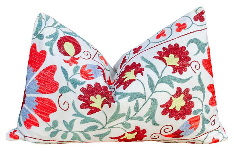 Petal Coral Floral Suzani Pillow
