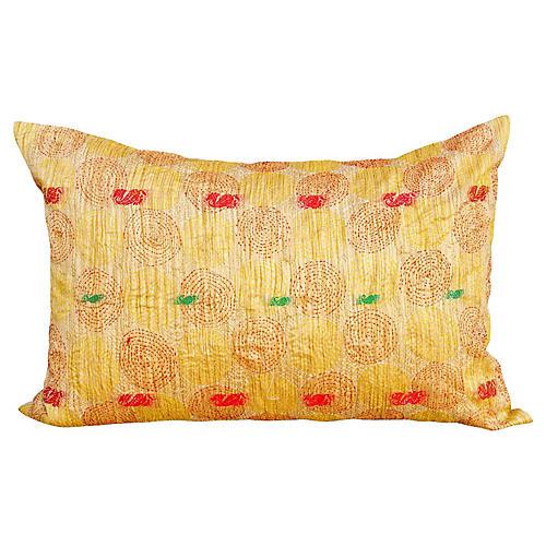 Aray Chakra Kantha Silk Pillow