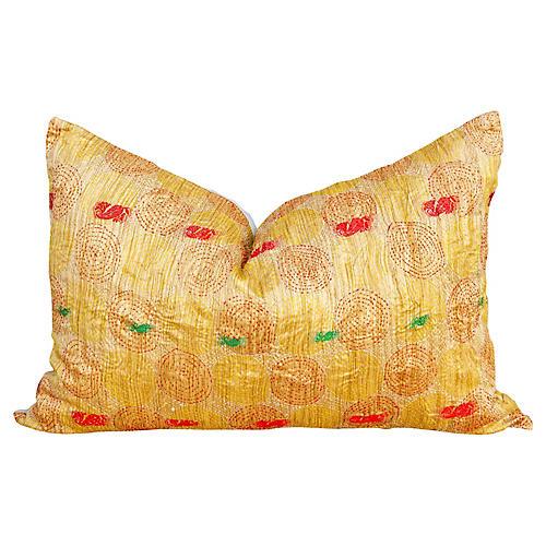 Tala Chakra Kantha Silk Pillow