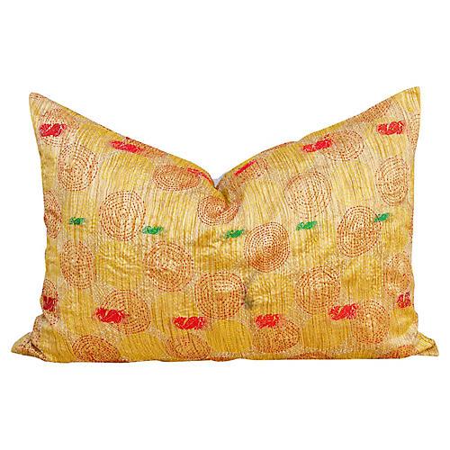 Desha Chakra Kantha Silk Pillow