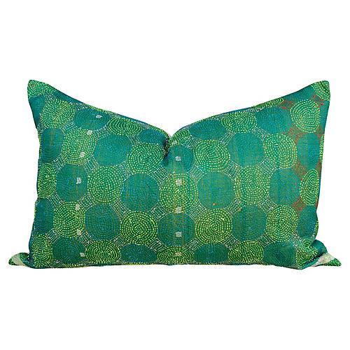 Emerald Chakra Kantha Silk Pillow