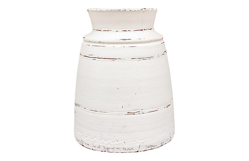Tall White Nepalese Tribal Ghee Pot