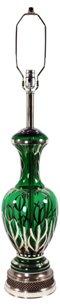 Italian Green & Silver Glass Lamp