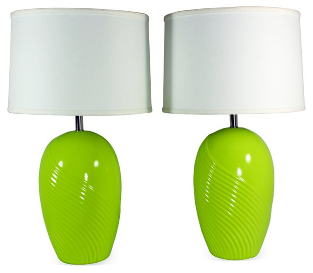 Lime Green Ceramic Lamps, Pair