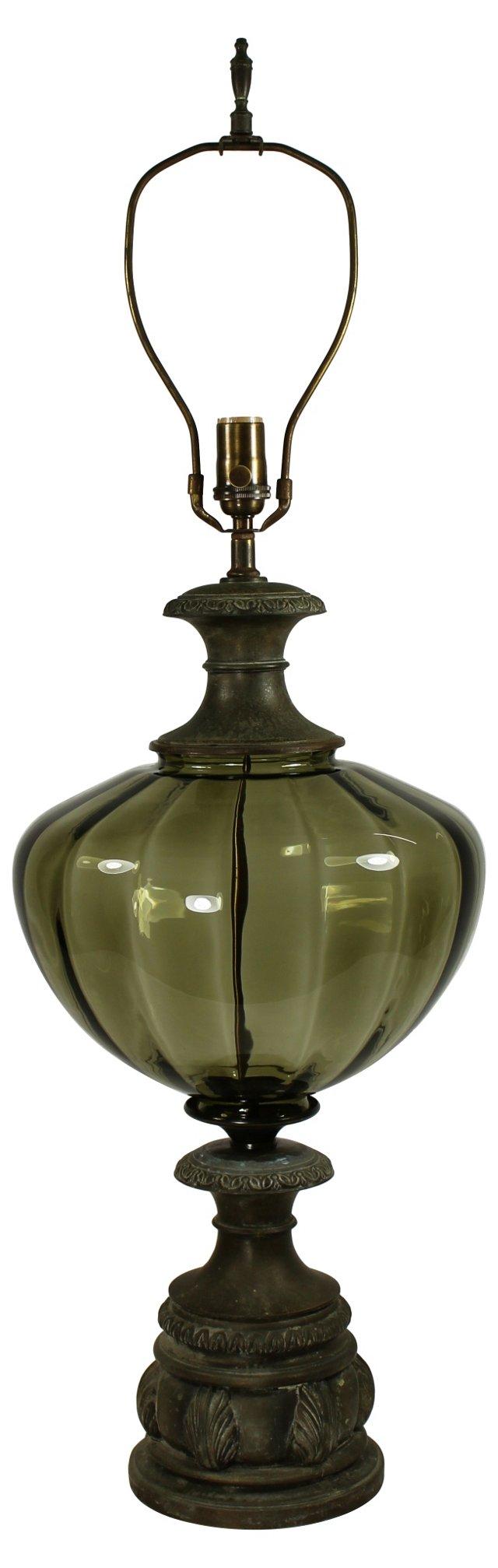 Smoked Glass & Shell Pedestal Lamp
