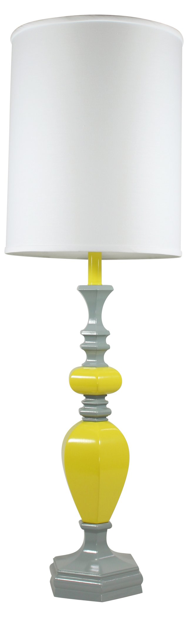 Yellow & Gray Stacked Lamp Base