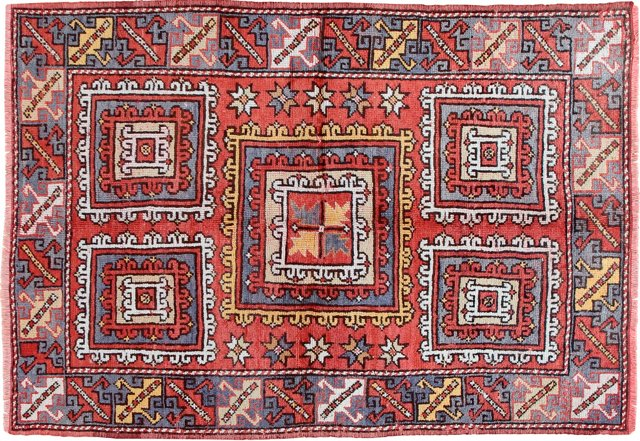 """Hand-Knotted Oushak Rug, 4'2"""" x 6'2"""""""