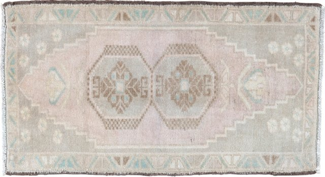"Pale Oushak Hand Knotted Rug, 1'8"" x 3'"