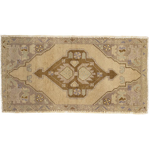 """Hand-Knotted Yastik Rug, 1'10"""" x 3'3"""""""