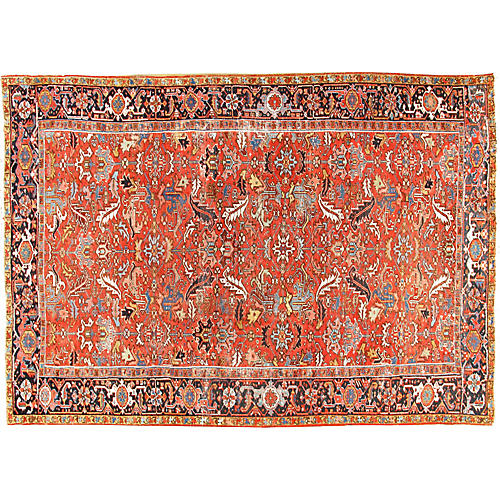 Distressed Heriz Rug, 8' x 11'