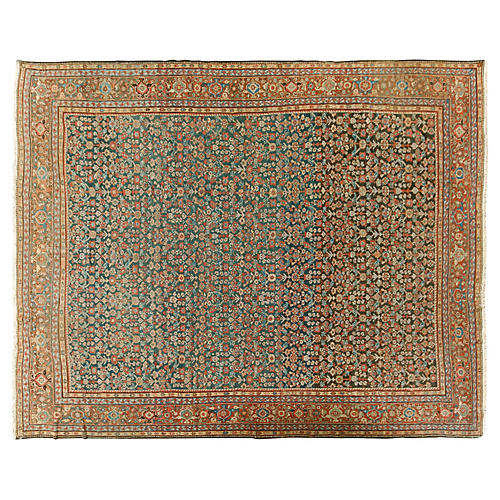 "Antique Mahal Carpet, 11'2"" x 13'4"""